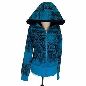 Lululemon Special Edition Snowflake Fair Isle Blue/Black Scuba Hoodie SZ 8